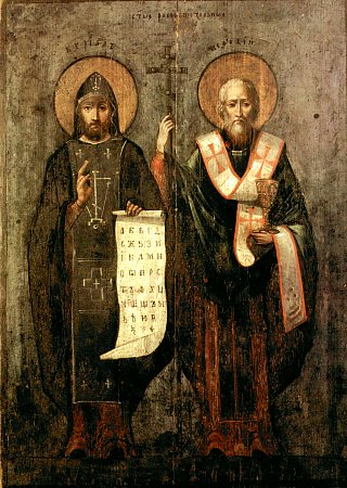 Holy Equals-to-the-Apostles  Methodius  (885) and  Cyril  (869), first teachers of the Slavs.