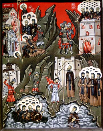 Martyrs killed by the Latins at the Iveron Monastery on Mt. Athos (Georgia).